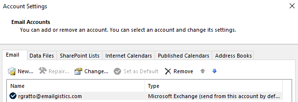 image of Account Settings dialog with primary account selected