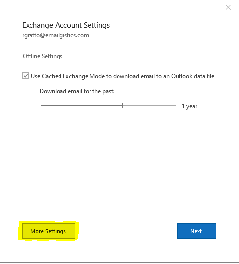 """Image of Exchange Account Settings with """"more settings"""" highlighted"""