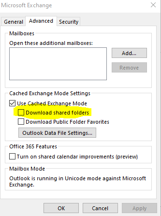 """Image of """"download shared folders"""" check box highlighted within Advanced Settings tab."""